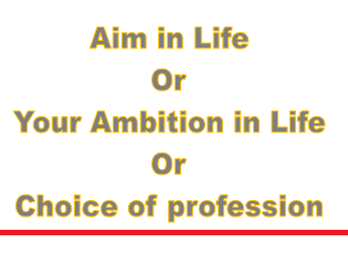 aim in life or your ambition in life