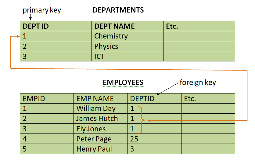 Hierarchical database model example