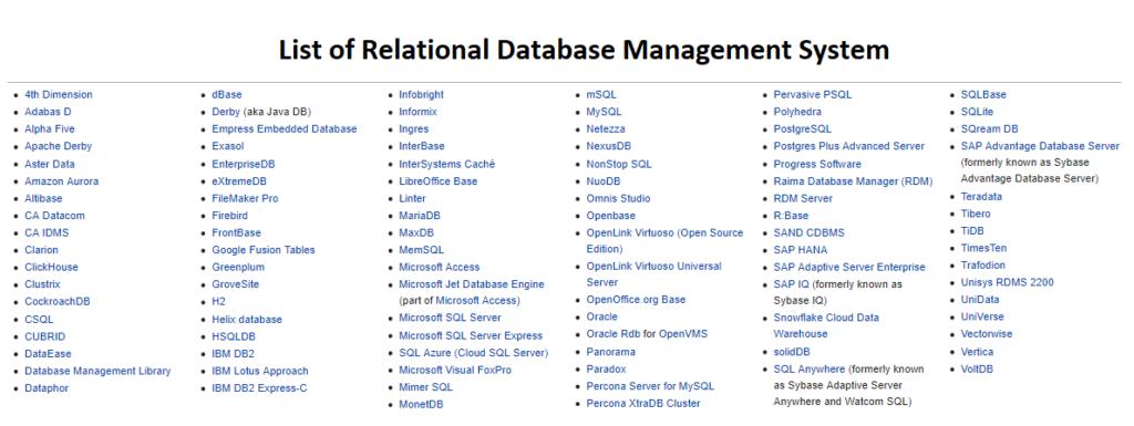 List of RDBMS